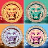 Uppsättning av fyra mångfärgade håligheter med lejonet Popkonst vektor illustrationer