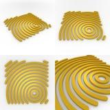 Uppsättning av fyra mallar för Circural Företag logo 3D Stock Illustrationer