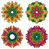 Uppsättning av fyra mandalas. Royaltyfri Foto