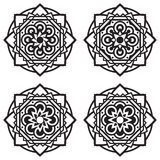 Uppsättning av fyra mandalas Arkivfoton