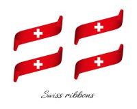 Uppsättning av fyra moderna kulöra vektorband i schweiziska färger Royaltyfri Foto
