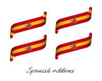 Uppsättning av fyra moderna kulöra vektorband i spanska färger Arkivbild