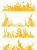 Uppsättning av fyra orange flammaremsor som isoleras på vit Royaltyfri Bild