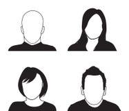 Uppsättning av fyra personerkonturer Royaltyfri Bild