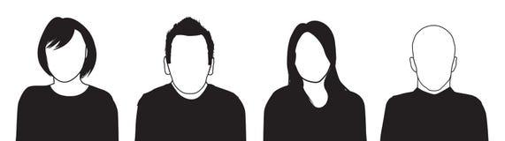 Uppsättning av fyra personerkonturer vektor illustrationer