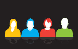 Uppsättning av fyra personerkonturer royaltyfri illustrationer