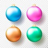 Uppsättning av fyra realistiska jul eller genomskinliga struntsaker för nytt år, sfärer eller bollar i olika färger med guld- loc stock illustrationer
