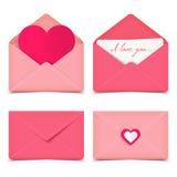 Uppsättning av fyra romantiska vektorkuvert för rosa valentin Arkivfoton