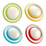 Uppsättning av fyra runda mallar för copyspacecirkelknapp Fotografering för Bildbyråer