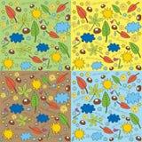 Uppsättning av fyra säsongsymboler Royaltyfria Bilder