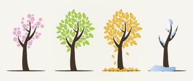 Uppsättning av fyra säsongträd stock illustrationer