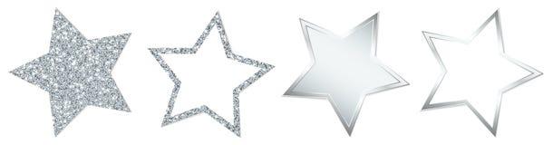 Uppsättning av fyra silverstjärnor som mousserar och skiner vektor illustrationer