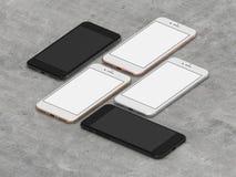 Uppsättning av fyra smartphones guld, ros, silver och svart stock illustrationer