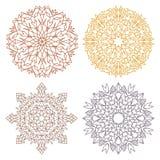 Uppsättning av fyra spets- mandalas för ökenfärg Royaltyfri Bild