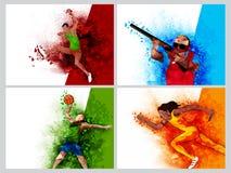 Uppsättning av fyra sportar med spelare Arkivfoto