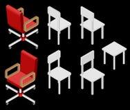 Uppsättning av fyra stolar isometriskt Royaltyfri Fotografi