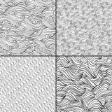 Uppsättning av fyra svartvita vågmodeller Svartvita färger Arkivfoton