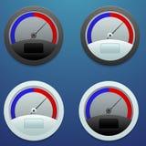 Uppsättning av fyra symboler för att mäta hastighetsladdarna  Arkivfoton