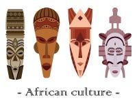 Uppsättning av fyra traditionella afrikanmaskeringar för färg på en vit backgroun royaltyfri illustrationer