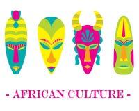 Uppsättning av fyra traditionella afrikanmaskeringar för färg på en vit backgroun stock illustrationer