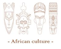 Uppsättning av fyra traditionella afrikanmaskeringar på en vit bakgrund stock illustrationer