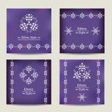 Uppsättning av fyra ultravioletta kort med etnisk design Royaltyfri Bild