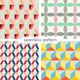 Uppsättning av fyra vektor sömlös geometrisk patterns_7 Arkivbilder