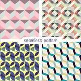 Uppsättning av fyra vektor sömlös geometrisk patterns_6 Royaltyfri Foto