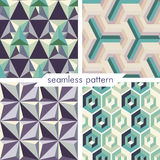 Uppsättning av fyra vektor sömlös geometrisk patterns_14 Arkivbilder