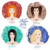 Uppsättning av fyra zodiakvädur, Oxen, Tvillingarna och cancer royaltyfri illustrationer