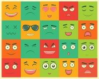 Uppsättning av fyrkantiga emoticons Emoticon för webbplatsen, pratstund, sms vektor royaltyfri illustrationer