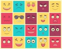 Uppsättning av fyrkantiga emoticons Emoticon för webbplatsen, pratstund, sms vektor Arkivfoto