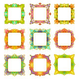 Uppsättning av 9 fyrkantiga ramar Arkivbilder