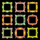 Uppsättning av 9 fyrkantiga ramar Royaltyfri Bild