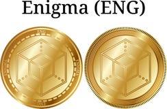 Uppsättning av fysiskt guld- myntEnigma ENGELSKA Royaltyfri Bild