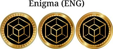 Uppsättning av fysiskt guld- myntEnigma ENGELSKA Arkivfoton