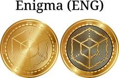 Uppsättning av fysiskt guld- myntEnigma ENGELSKA Royaltyfria Foton