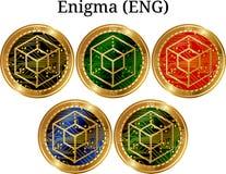 Uppsättning av fysiskt guld- myntEnigma ENGELSKA Royaltyfri Fotografi