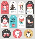Uppsättning av gåvaetiketter och kort för glad jul och för nytt år stock illustrationer