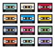 Uppsättning av gamla bandspelare för ljudkassett som används i 80-tal av det 20th århundradet Det kan användas som en illustratio Royaltyfri Fotografi