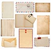 Uppsättning av gamla pappersark, bok, kuvert, kort Royaltyfri Bild