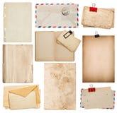 Uppsättning av gamla pappersark, bok, kuvert, papp Arkivbilder