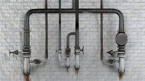 Uppsättning av gamla rostiga rör och ventiler mot den vita klassiska tegelstenväggen med att läcka fläckar Arkivfoton