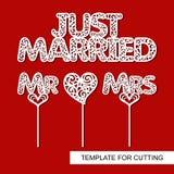 Uppsättning av garnering för att gifta sig Precis gift, toppers för kakan - mr, mrs, hjärta stock illustrationer
