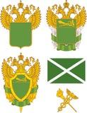 Uppsättning av generiska ryska egenemblemmallar royaltyfri illustrationer