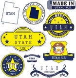 Uppsättning av generiska stämplar och tecken av den Utah staten Royaltyfria Bilder