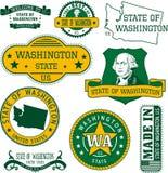 Uppsättning av generiska stämplar och tecken av staten Washington royaltyfri illustrationer