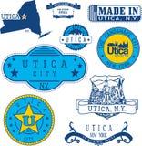 Uppsättning av generiska stämplar och tecken av Utica, NY Royaltyfri Fotografi