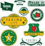 Uppsättning av generiska stämplar och tecken av Yakima, WA stock illustrationer