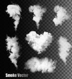 Uppsättning av genomskinlig olik rök Arkivfoto